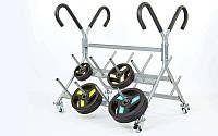 Подставка (стойка) для штанг фитнес памп Zelart RK4060E (металл, р-р 130х116х119cм)