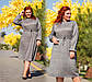 """Женское стильное платье в больших размерах 0483 """"Шерсть-Ангора Клетка Лиф Поясок"""" в расцветках, фото 2"""