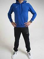 Зимний спортивный костюм, костюм на флисе Nike, синий верх, черный низ, с3385