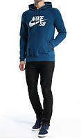 Зимний спортивный костюм, костюм на флисе Nike, синий верх кенгуру, черный низ, с3387