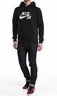 Зимний спортивный костюм, костюм на флисе Nike черный цвет, с3404