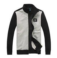 Зимний спортивный костюм, костюм на флисе Adidas, серое туловище, черные рукава, черные штаны, с228