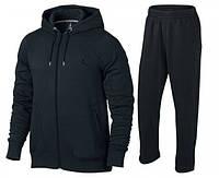 Зимний спортивный костюм, костюм на флисе джордан, черный, кенгуру, с3318