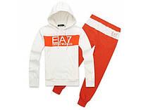 Зимний спортивный костюм, костюм на флисе Armani, белая кофта с оранжевой вставкой, оранжевые штаны, с2996