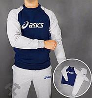 Зимний спортивный костюм, костюм на флисе Asics, асикс, сине-серый, белое лого, в наличии, стильный, трикотаж