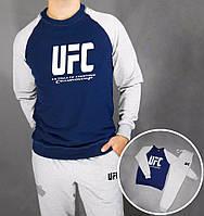 Зимний спортивный костюм, костюм на флисе UFC, юфс, серо-синий, белое лого, спортивный, стильный