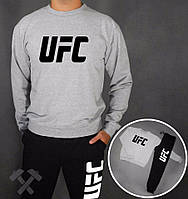 Зимний спортивный костюм, костюм на флисе UFC, серый верх, черный низ, к3908