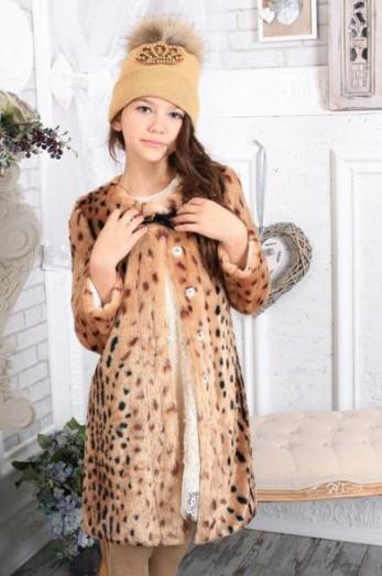 Леопардовое пальто для девочки тм Моне р-ры 128,134,140,146,152