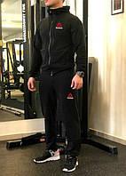 Зимний спортивный костюм, костюм на флисе Reebok черного цвета,
