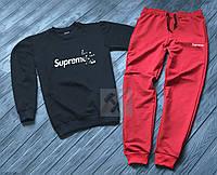 Зимний спортивный костюм, костюм на флисе Supreme красного и черного цвета,