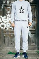 Зимний спортивный костюм, костюм на флисе Jordan серый,