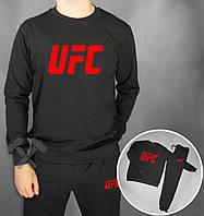 Зимний спортивный костюм, костюм на флисе UFC черный с красным лого, реплика