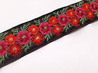 """Тесьма  з вишитим орнаментом ткана  """"Червоні квіти на чорному"""" 6 см. На метраж, фото 1"""