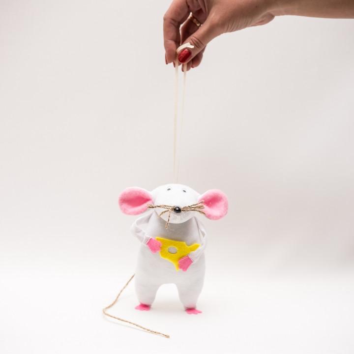 Мышонок МОТЯ  Vikamade белый