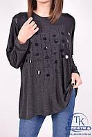 Блуза женская (цв.черный) трикотажная GEVENCE 60180 Размер:50,52,54