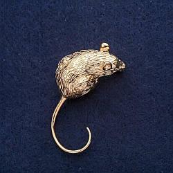 Брошь Мышь символ года 20х45мм желтый металл