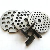 Комплект насадок для мясорубки нож + 3 сетки