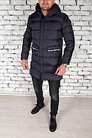 Зимняя длинная куртка мужская Emporio Armani синяя (реплика), фото 1