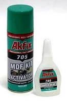 Клей-активатор Ak Fix 705 ціаноакрилатний, 50 + 200 мл / Клей двухкомпонентный Ак Фикс цианоакрилатный (набор)