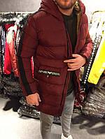 Зимняя длинная куртка мужская Emporio Armani бордо (реплика), фото 1