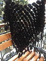 Платок из меха норки, темно-коричневый