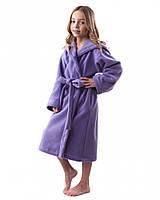 Флисовый халат детский теплый (на рост 116-158 в расцветках) фиолетовый, 140-146