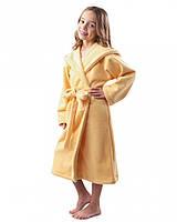 Флисовый халат детский теплый (на рост 116-158 в расцветках) желтый, 140-146