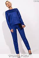 Замшевый брючный костюм-двойка с брюками высокой посадки с 42 по 44 размер