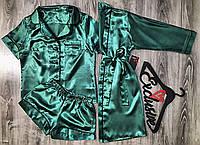 Рубашка+ шорты+халат с кантом-комплект домашней одежды.