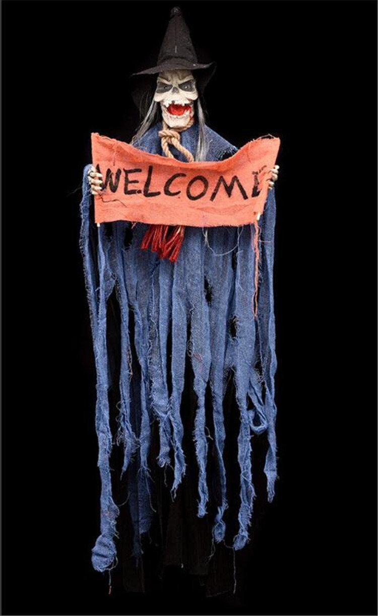 Ведьма Welcome в синем балахоне страшный нежить декор для Хеллоуина вечеринки