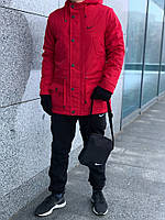 Парка зимняя + Штаны + 2 ПОДАРКА | комплект зимний мужской в стиле Nike CL black-RED