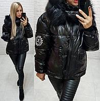 Женская куртка парка зима плащевка плотная металоризированная синтепон 250 спинка удлинённая цвет черный