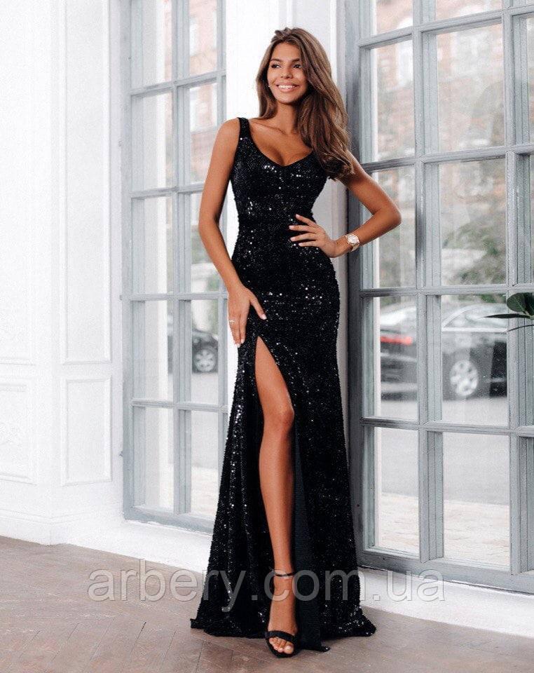 Шикарное вечернее платье в пайетках