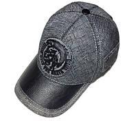 Модель №279 Кожаная кепка бейсболка Diesel. Кожа под джинс
