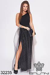 Вечернее чёрное платье с сеткой на одно плечо