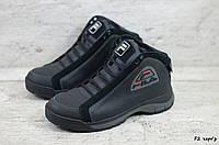 Мужские кожаные зимние кроссовки Fila (Реплика) (Код: F2 чер/з  ) ►Размеры [41], фото 1