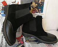 Женские зимние ботинки  Timberland челси оксфорд черный замш кожа мех Тимберланд, фото 1