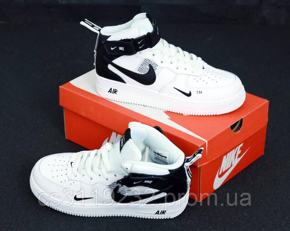 Женские кроссовки Nike Air Force 1 High White Black (белые)