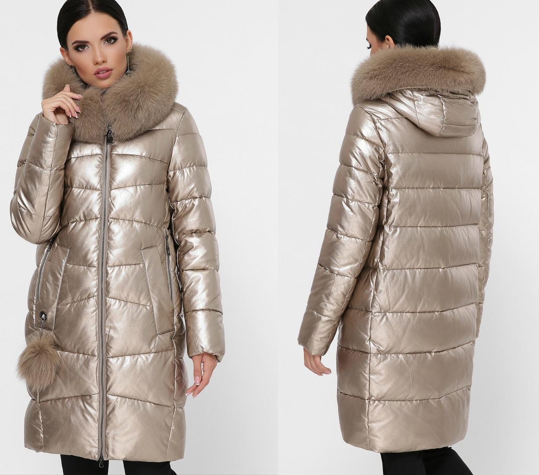 Стильная женская длинная куртка с натуральным мехом