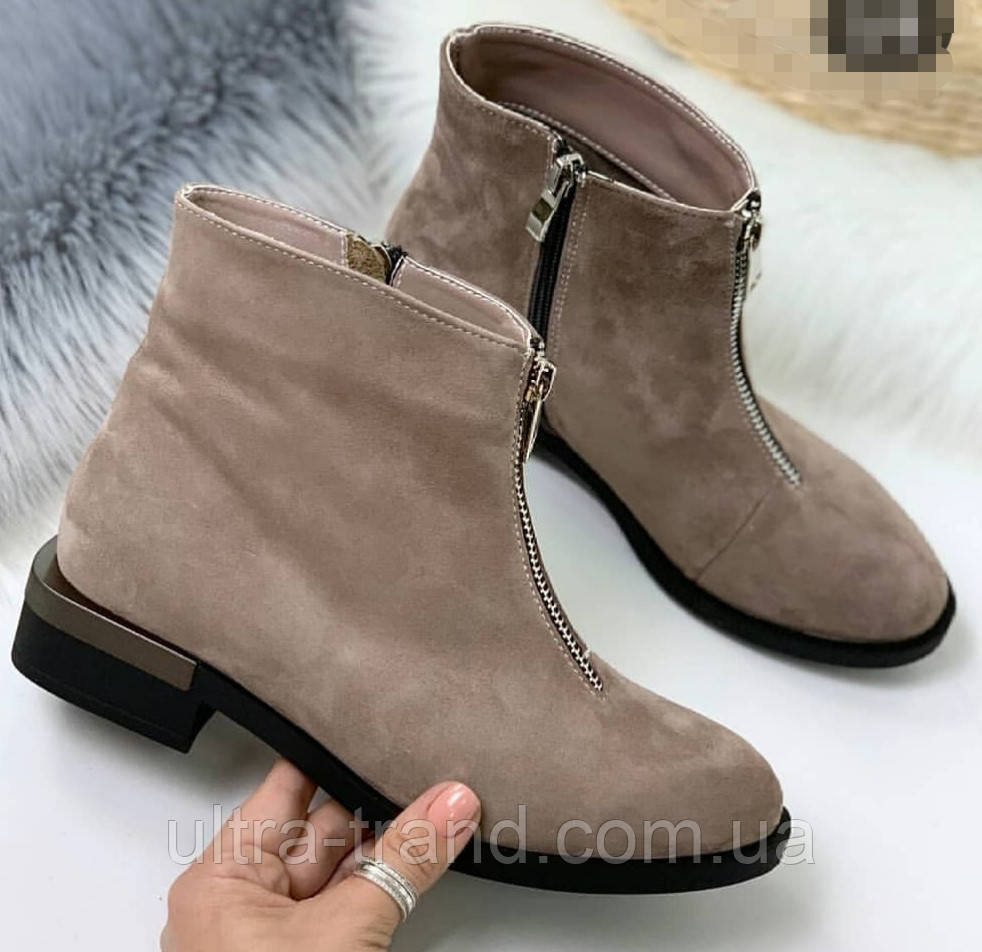 Ferragamo стильные женские демисезонные ботинки натуральная замша змейка впереди маленький квадратный каблук