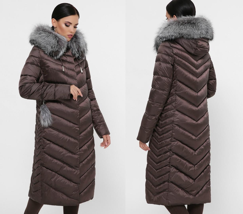 Зимнее длинное женское пальто с натуральным мехом