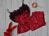 Женская бархатная пижама с широким кружевом, 10 цветов с 40 по 46рр, фото 6