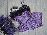 Женская бархатная пижама с широким кружевом, 10 цветов с 40 по 46рр, фото 7