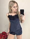 Жіноча оксамитова піжама з широким мереживом, 10 кольорів з 40 по 46рр, фото 9