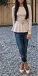 Кофта з баскою, довгий рукав, 9 кольорів, фото 4