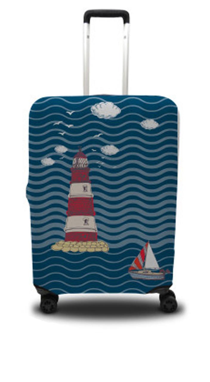 Чохол для валізи маяк, синьо-червоний /Чехол для чемодана Coverbag маяк S сине-красный