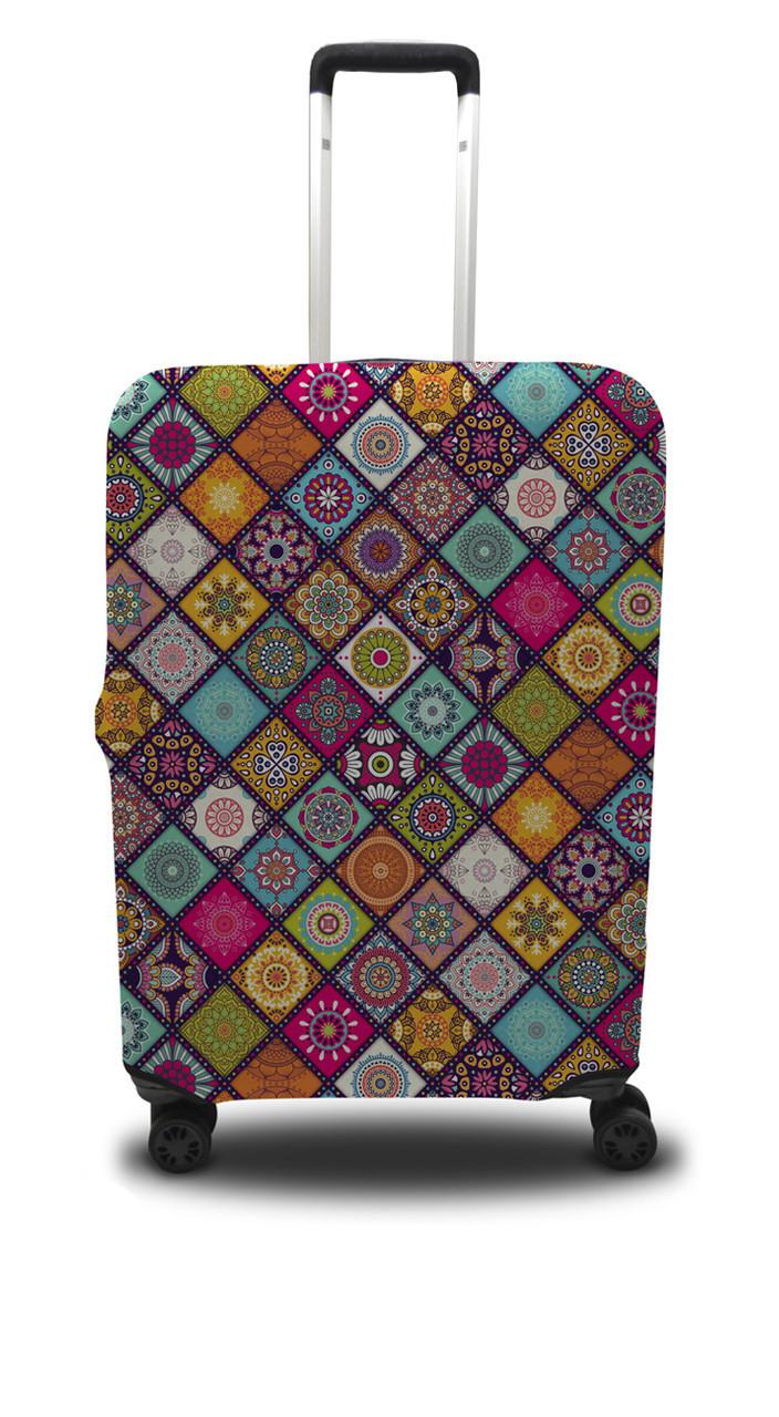 Чохол для валізи ромби, бірюзово-оранжевий /Чехол для чемодана Coverbag ромбы S бирюзово-оранжевый