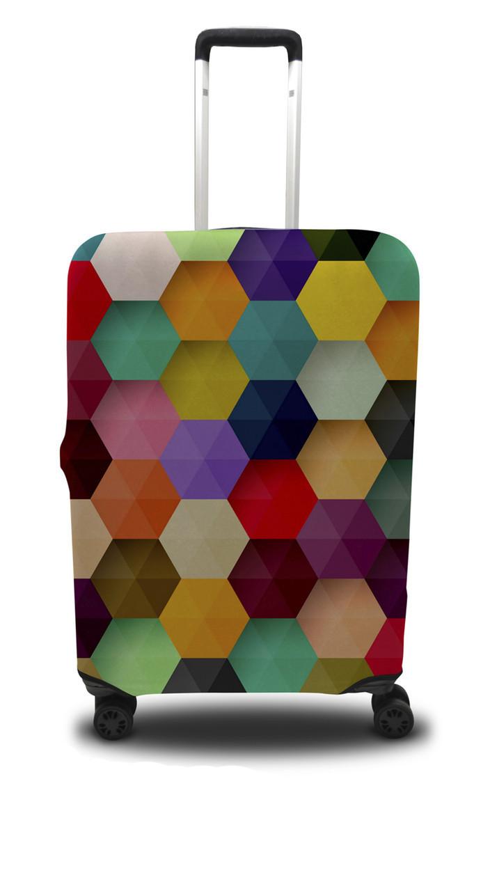 Чохол для валізи шестикутник, жовто-рожевий /Чехол для чемодана Coverbag шестиугольник L желто-розовый