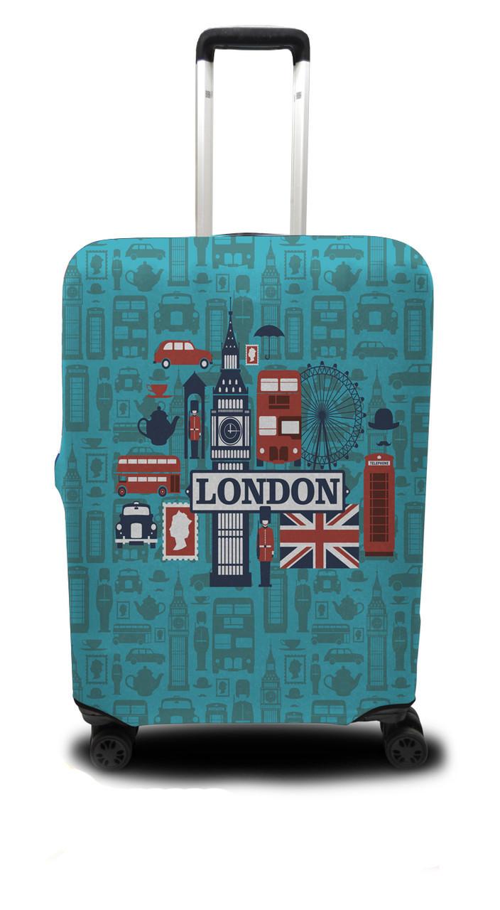 Чохол для валізи Лондон, бірюзовий /Чехол для чемодана Coverbag Лондон M бирюзовый