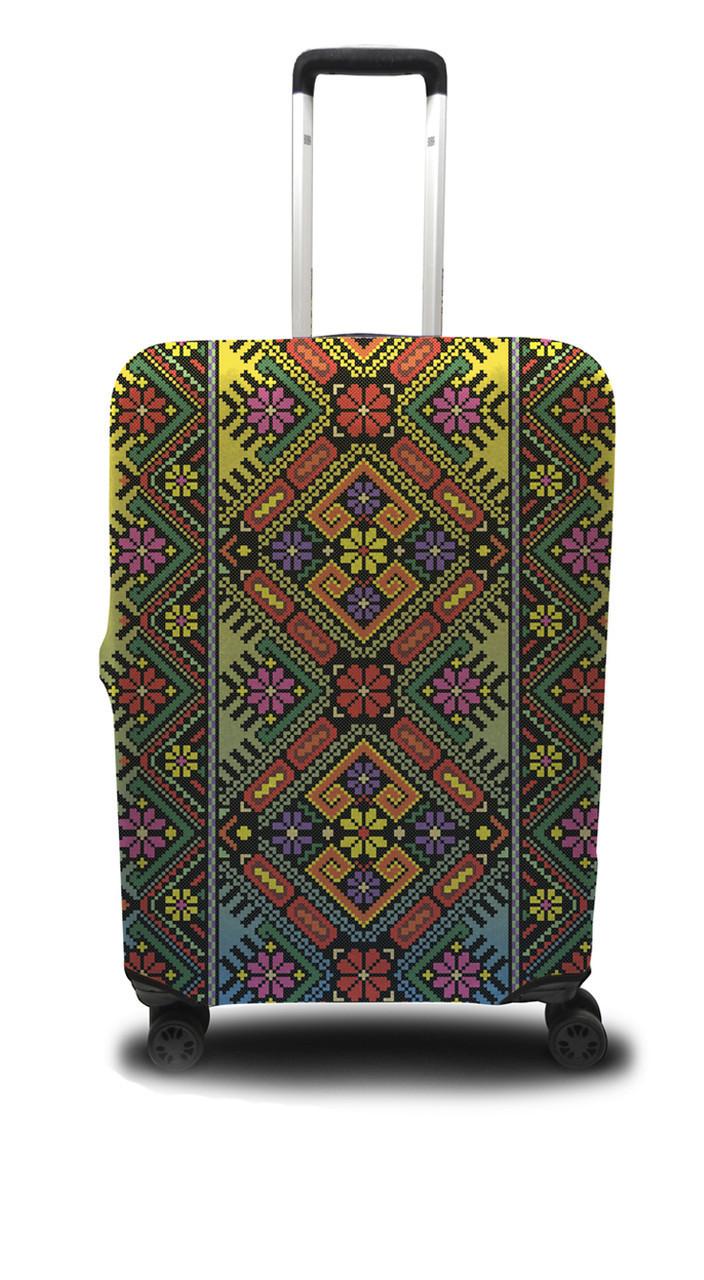 Чохол для валізи український орнамент, /Чехол для чемодана Coverbag украинский орнамент M желто-красный
